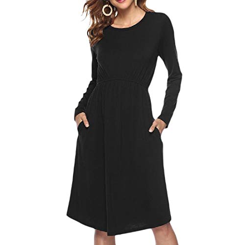 Pockets Solid Neck Women T Casual Coolred Black Waist Midi Autumn Dress Shirt Crew Fq6gTE