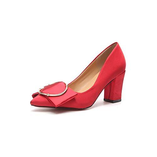 Red De De tacón Alto Yukun Rhinestone Acentuados Zapatos Tacón de De zapatos Puntiagudos Zapatos Alto alto Satén Tacón 1PTwA6qP