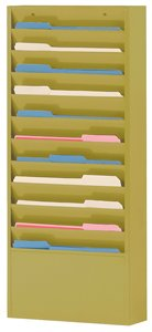 Durham 406-54 Putty Cold Rolled Steel 10 Large Pocket Forms Literature Rack, 13-1/4'' Width x 26-1/4'' Height x 4-1/8'' Depth by Durham