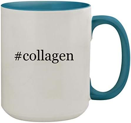#collagen - 15oz Hashtag Ceramic Inner & Handle Colored Coffee Mug, Light Blue
