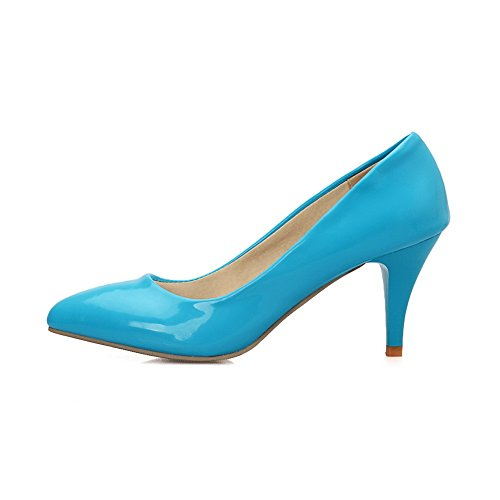 AmoonyFashion Womens Pull-on Pointed Closed Toe High-Heels PU Solid Pumps-Shoes Blue zukrnuOr9