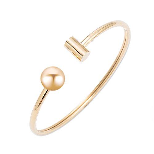 (Citled Titanium Steel Gold plated One-Ball Bangle Bracelet 7.5inches Bangles For Women Girls Bangles Stuff Bracelet-BR-CF015-GD01)