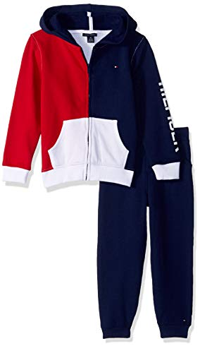 Tommy Hilfiger Boys' Toddler 2 Pieces Jog Set, red/Navy/White, 4T