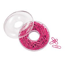 Pink Paper Clips - 200 Clips - Donut Storage Container