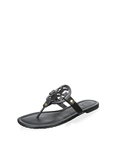 Tory Burch Women's Miller Leather Sandal (6.5, Black) by Tory Burch