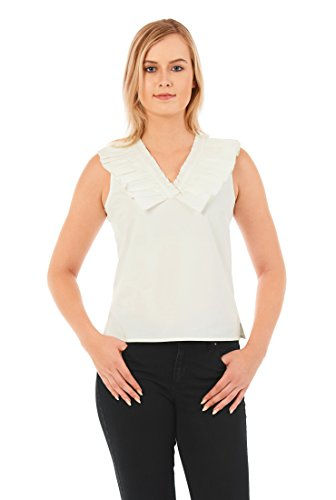 eShakti Women's Pleated ruffle neck stretch poplin top L-12 Short Cloud white Poplin Ruffle Top