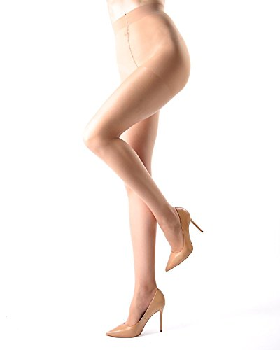 Bone 12x12 (Melas Crystal Sheer Control Pantyhose - 12 Denier - 6 Pack Bone K06 AS 609 X Tall)