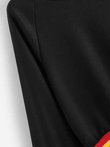 Pullover Donna Vendita Lunghe da Maniche Elegante Tops A Shirt Lunga con T Ampio Liquidazione Camicette Patchwork Collo Manica Casual E Nero Casual di XxXrwqFE