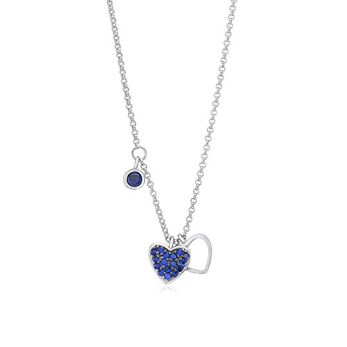 Sterling Silver 925 Double Heart Charm Necklace Pendant with Dangle Accent CZ Blue on Rolo Chain 16
