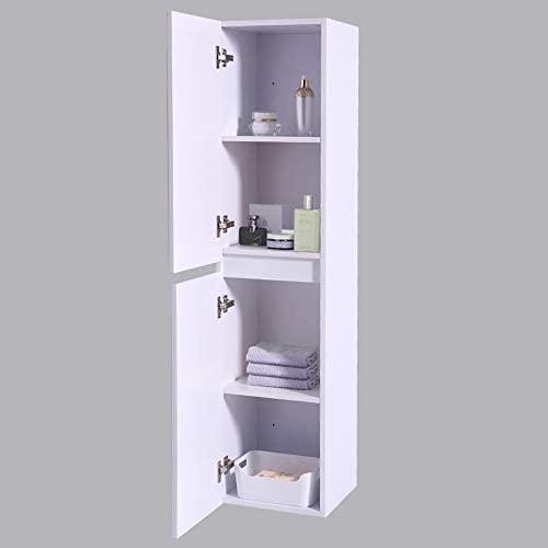 NRG Wall Hung Bathroom High Cabinet Tall Cupboard 1400mm White Storage Furniture