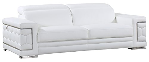 Blackjack Furniture The Usry Collection Genuine Italian Leather Upholstered Living Room Sofa Set, White
