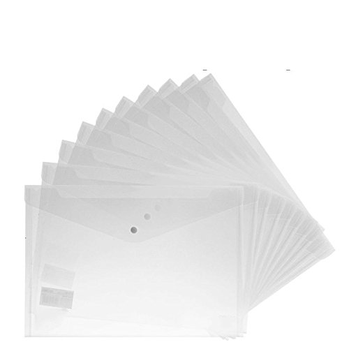MyLifeUNIT 15pcs Transparent A4 Paper Size PP Water Resistant File Holder Clear Filing Envelope with Snap Button (Clear Plastic Folders)