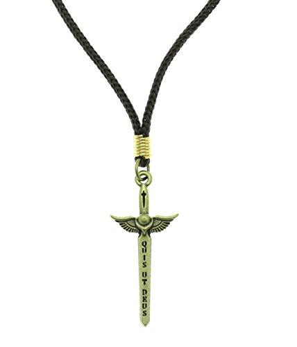 Saint Sword (Intercession™ St Michael Sword Necklace (Antique Gold - Cord))