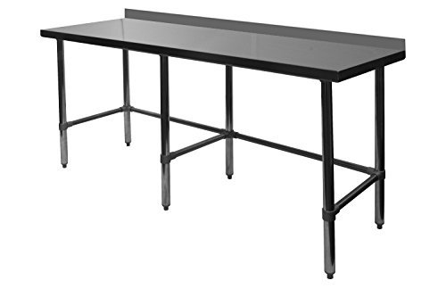 ACE Open Base All Stainless Steel Commercial Work Table w/ 4'' Backsplash 30''W x 96''L x 35''H, ETL Certified, WT-PB3096B by ACE