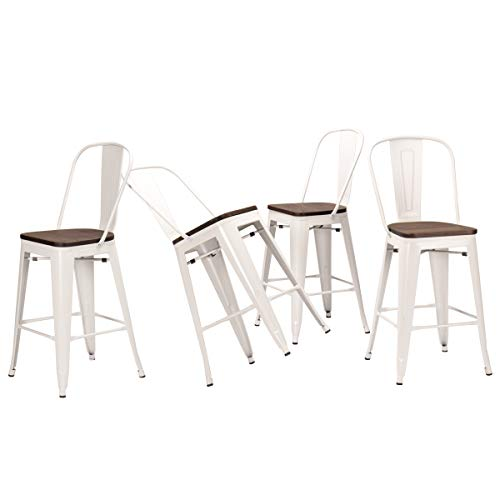 Tongli Metal Swivel Barstools Dining Chairs Set Industrial Counter Height Chair (Pack of 4) Patio Chair (30