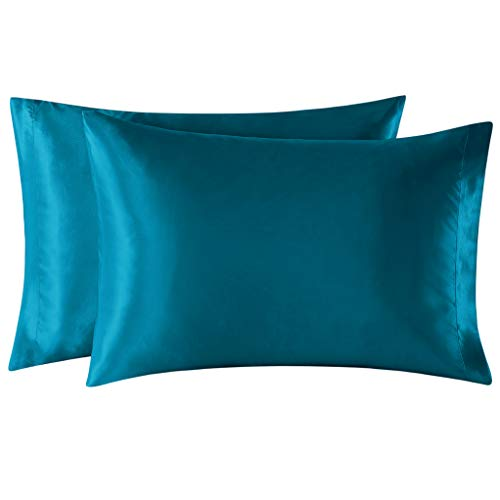 EXQ Home Satin Pillowcases Set of 2 for Hair and Skin Standard/Queen Size 20x30 Teal Pillow Case with Envelope Closure (Anti Wrinkle,Hypoallergenic,Wash-Resistant)