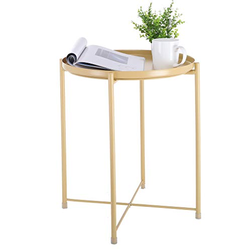 Fewear Tray Metal End Table, Sofa Table