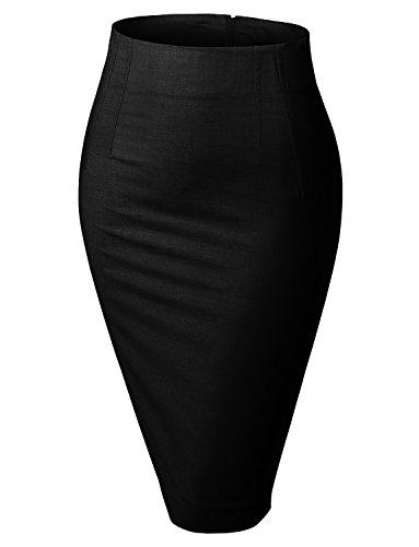 LE3NO Womens Stretchy High Waisted Wear to Work Bodycon Pencil Midi Skirt,Black,Medium