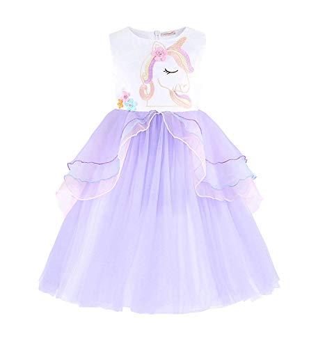 Girls Unicorn Tulle Dress Sleeveless Party Costume Evening Gowns(Purple -