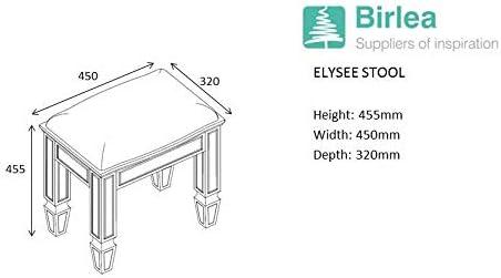 Birlea Elysee Mirrored Bedroom Stool Furniture Mirror Neutral Padded Seat