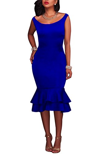 Wonderoy Women's Tank Top Slim Fit Cocktail Party Ruffles Mermaid Bodycon Midi Dress L Royal Blue (Blue Womens Dress Royal)