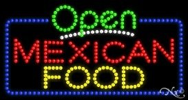 Mexican Food Open LED Sign (High Impact, Energy Efficient) by ArterNeon