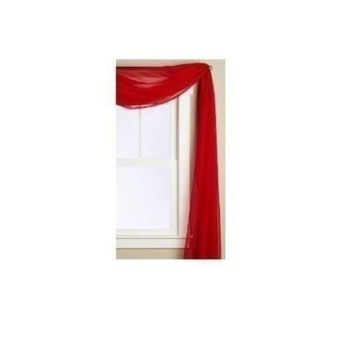 Beautiful Elegant Window Voile Sheer Valance Scarf 37'' X 216'' Topper Scarlet Red