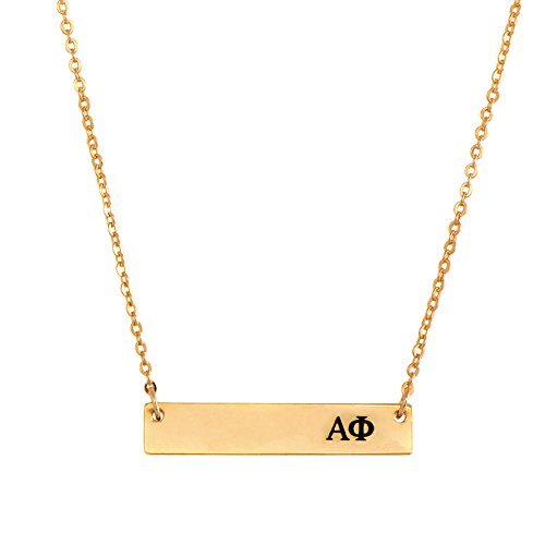 Alpha Phi 24K Gold Plated Horizontal Bar Necklace Greek Sorority Letter with Adjustable Chain A Phi