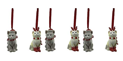 Comfy Hour Set of 6 Cats Wearing Scarf Santa Cap Reindeer Antler Headwear Christmas Tree Ornaments, Xmas Decoration Party Decor, Red Gray and Light Yellow
