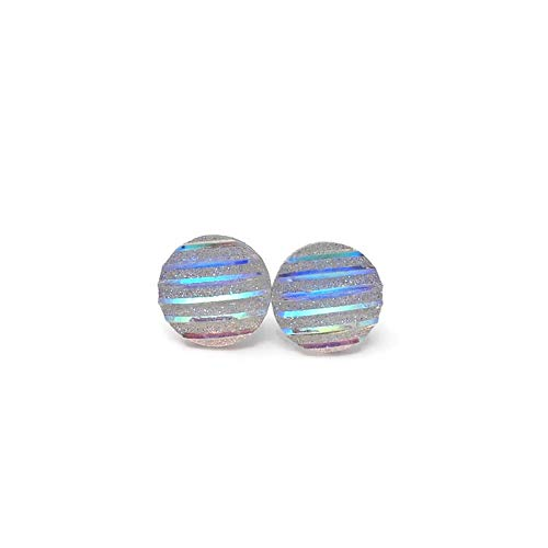 Clear Iridescent Striped Round Plastic Post Stud Earrings, 12mm
