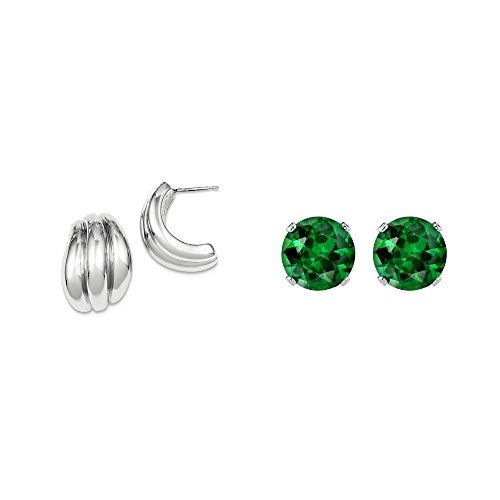Hollow Polished Green (Sterling Silver Polished Hollow Post Earrings + Matching 2mm Green CZ Stud Earrings)