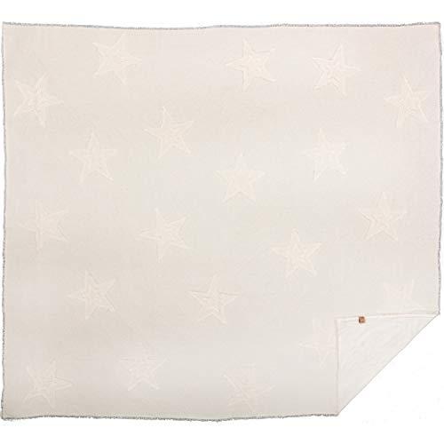 VHC Brands Farmhouse Bedding Vintage Appliqued Cotton Burlap Star King Coverlet Antique White