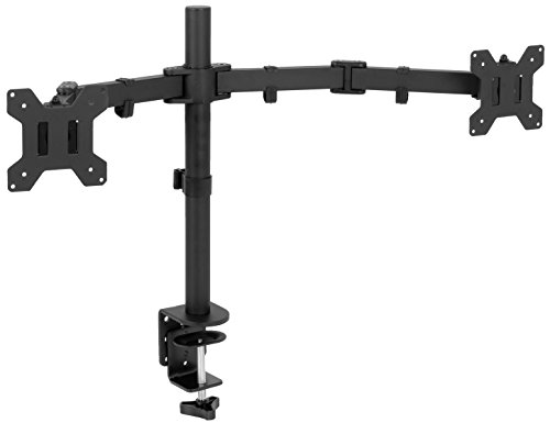 VIVO Full Motion Dual Monitor Desk Mount Clamp VESA Stand w/Double Center Arm Joint | Fits up to 32 inch Screens (STAND-V102D)