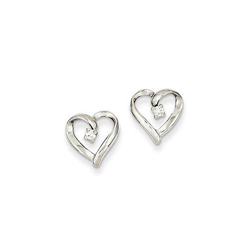 Diamond Aa Heart Earring (14k White Gold AA Diamond Heart Earrings)