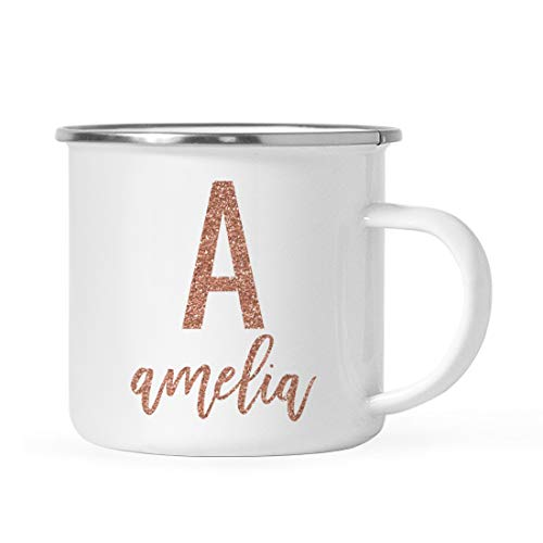 Andaz Press Personalized 11oz. Metal Camping Mug Gift, Faux Rose Gold Glitter Monogram Custom Initial Letter and Name, 1-Pack, Birthday Christmas Outdoors Enamel Campfire Cup
