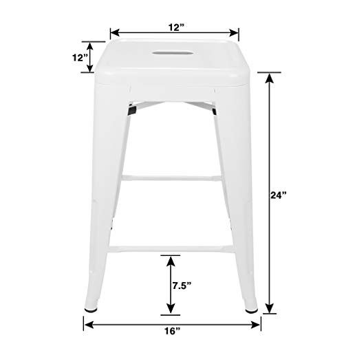 Urbanmod 24 Inch Bar Stools For Kitchen Counter Height Indoor Outdoor Metal Set Of 4 Glossy White Pricepulse