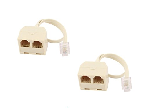 RJ11 6P4C 2 Way Outlet 1 to 2 Telephone Phone Jack Line Splitter Adapter Beige 2pcs