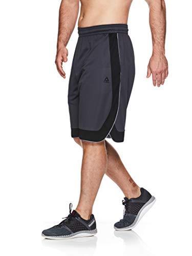 Reebok Men's Mesh Basketball Gym & Running Shorts w/Elastic Drawstring Waistband & Pockets - Dunk Shot Ebony/Black, Medium
