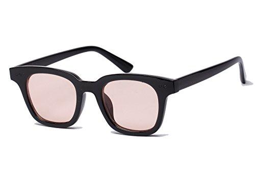 Bestum Inspired Square Sunglasses With Rivets Tinted Lens UV400 (Black, Light - Sunglasses Light Lens