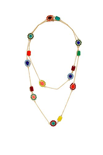 [Strand Necklace Fashion Jewelry, Long Pendant Station, Gold Plated Multi-color Chain Necklace Gifts] (Father And Daughter Halloween Costume Ideas)