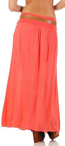 malito falda con cinturón verano tramo Maxi A-línea 17126 Mujer Talla Única Coral