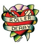 Adam Potts - Roller Derby Tattoo Heart - Mini Sticker / Decal