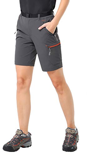 - MIER Women's Lightweight Cargo Shorts Outdoor Breathable Stretchy Hiking Shorts, Water Resistant & Quick Dry, Graphite Grey, 12