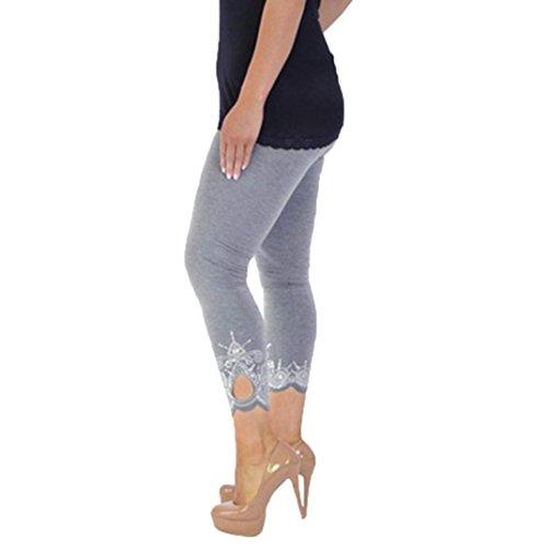 Yoga Leggings Lace Plus Size Skinny Sport Pants Exercise Trousers (X-Large, Gray2) ()