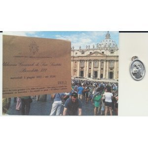 St Benedict Medal Blessed by Pope Benedict XVI with Holy Card and Velour Bag