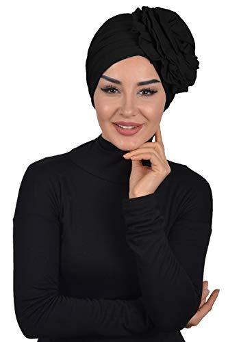Instant Turban Cotton Scarf Head Wrap Cancer Chemo Headwear Rose Detail Black