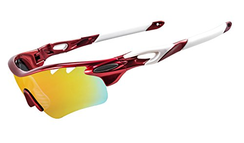 (KuKoTi Polarized Sports Sunglasses Outdoor Cycling Sun Glasses with 5 Interchangeable Lenes for Men Women Golf Fishing Running Baseball (565-Car Red))