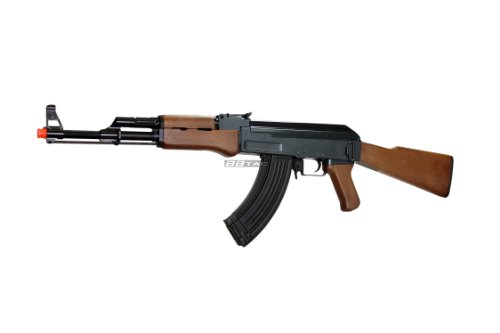 BBTac AK47 Airsoft Electric Gun with Metal Gear Box Full Length Polymer Body Fully Automatic 400 FPS