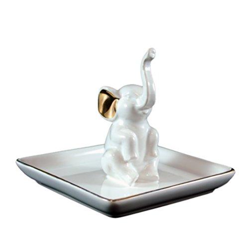 Elephant Ceramic Ring Holder on Gold Edge Tray