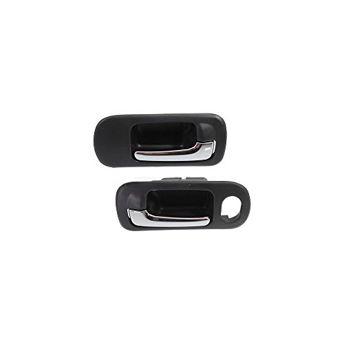 Interior Door Handles compatible with Set of 2 Front Left and Right Side Plastic Black bezel W/chrome lever ()